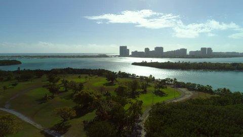 Aerial video Biscayne Bay nature preserve Miami Florida USA