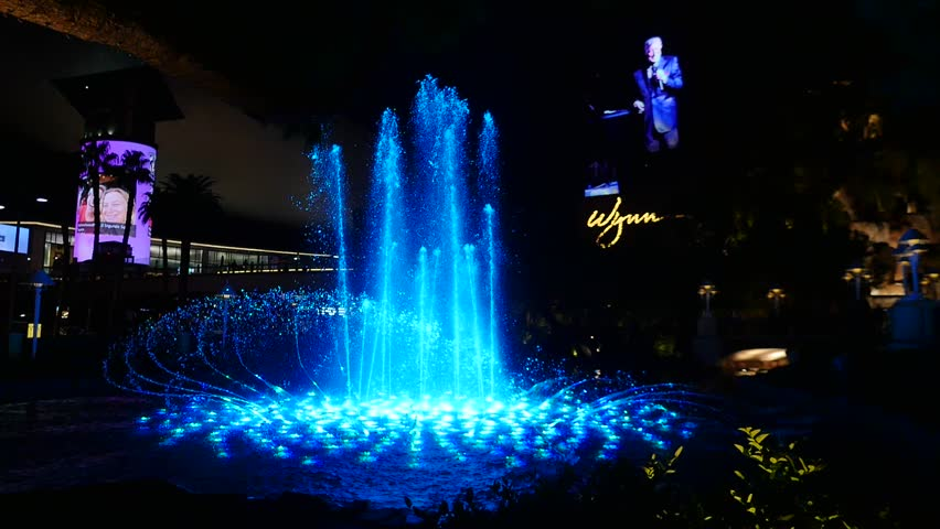 Las Vegas, Nevada/USA - October 11 2017: Wynn Hotel and its dancing fountain.