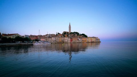 Rovinj , Croatia - Panoramic view of old town of Rovinj skyline in Istria peninsular, Croatia at waterfront street. Rovinj is a popular tourist resort, fishing port and culture travel of Croatia.