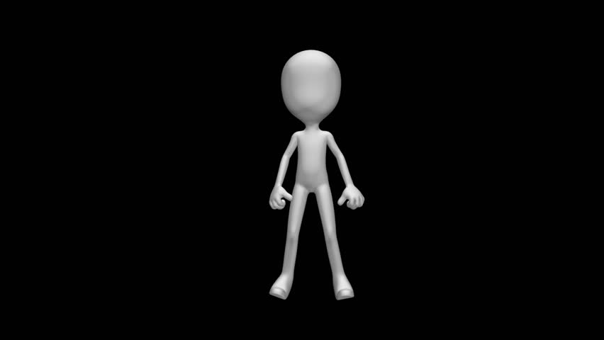 Karate Kata Stickman - Funny martial art character training fight pattern - 3D model animation with alpha channel on transparent background.
