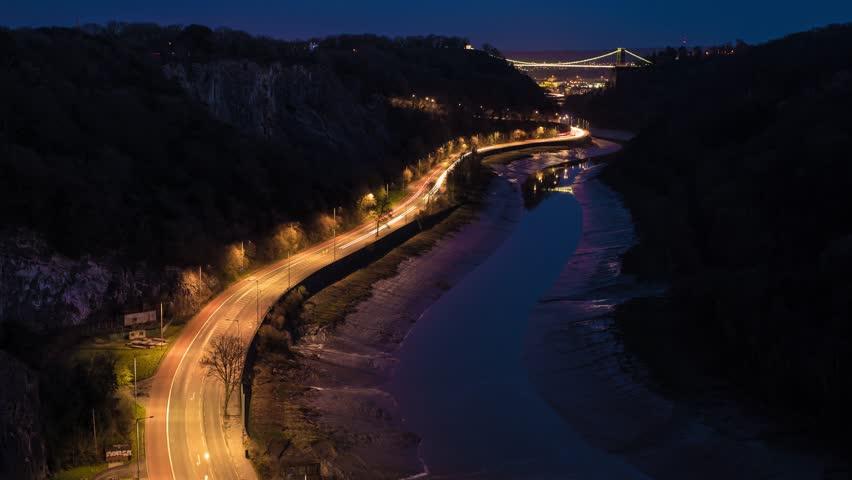 Clifton Suspension Bridge & Portway Time Lapse, Long Exposure Light Trails