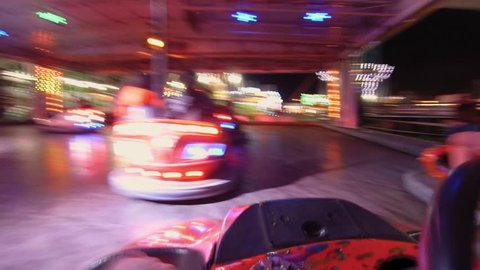 AREZZO, ITALY - January 2018 - Bumper cars POV