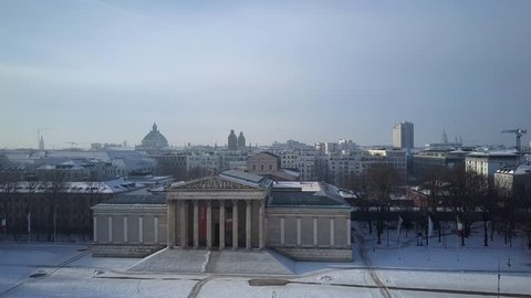 aerial shot of Königsplatz in Munich with winter atmosphere at a sunny day