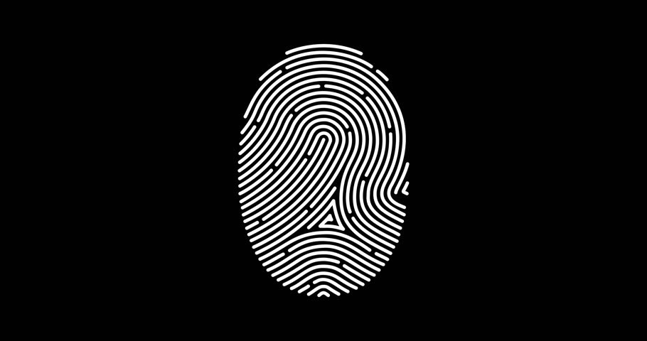Animation of fingerprint black and white alpha matte Touch ID futuristic digital processing of biometric scanner concept and security scanning of finger cyber mobile phone unlock applications