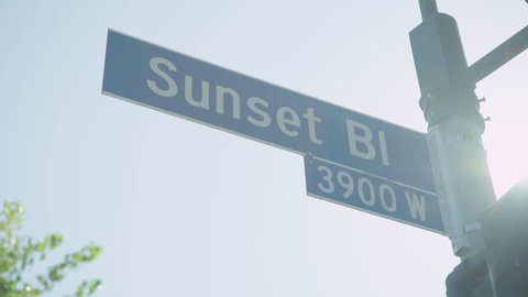 Sunset Blvd Sign with Lens flare
