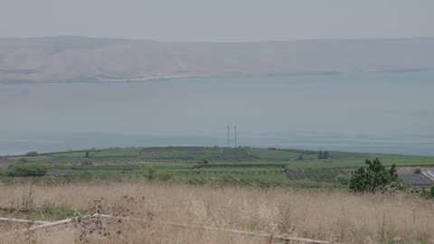 Sea of Galilee with mountain range in background, June 7, 2017.