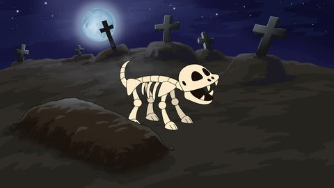 Skeleton Dog Flower ?emetery. The hand drawn animation of the cartoon skeleton dog in the cemetery who pees on the grave there grows a flower. 29.97 fps