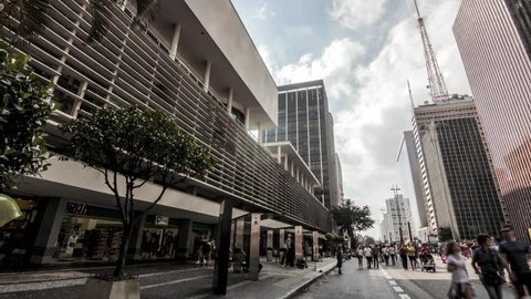 SAO PAULO, BRAZIL - CIRCA FEBRUARY 2018: Timelapse of a building located on Avenida Paulista in the city of Sao Paulo on a cloudy day