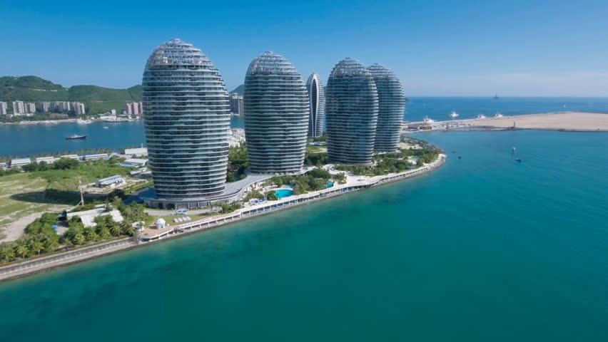 SANYA, CHINA - JULY 2016: Aerial view of a modern luxurious hotel resort in Sanya on Hainan island in the South China Sea