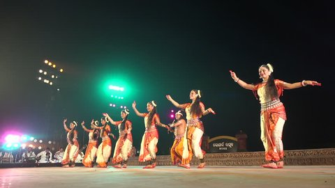 ODISHA, INDIA - DECEMBER 2014: Traditional Indian dance performance on stage during a festival in Konark