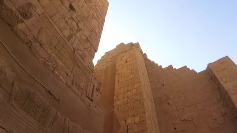 Luxor, Egypt. Ancient Karnak Temple architecture. Video shoot with action camera.