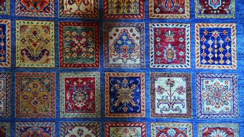 Turkish carpet with patterns. Shot in 4K (ultra-high definition (UHD)).