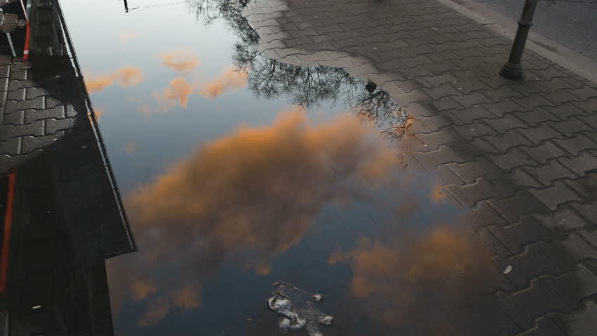 Rain puddle on a sidewalk reflecting golden clouds and a morning sky.