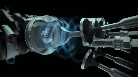 Motor fly through animation.Working Engine Inside and Outside camera fly through