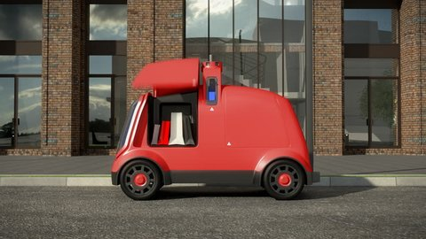 Automatic delivery system concept. 3D rendering, animation. 4K