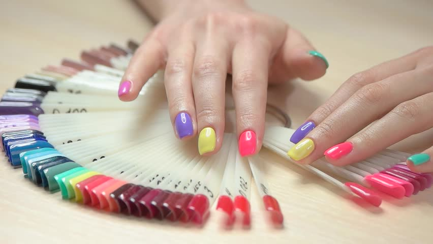 Stock video of Modern Nail Art Samples, Woman Hands. Collection Of ...