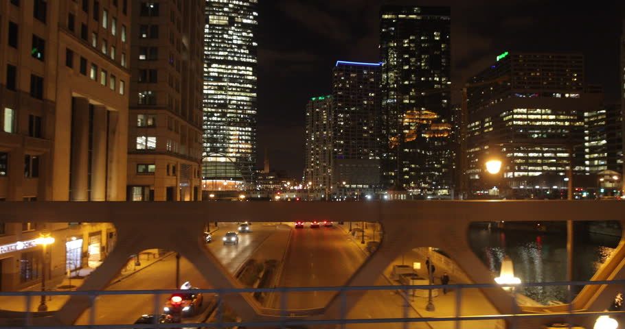 Chicago evening night dolly buildings river skyline