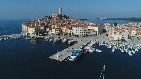ROVINJ, CROATIA - NOVEMBER 2017: Drone shot of colorful homes and buildings in Rovinj, a well preserved historic town on the Adriatic coastline in Croatia