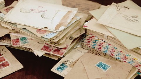 St.Petersburg, Russia - March 24 2018: Pile of archival letters, USSR 1941- 1980