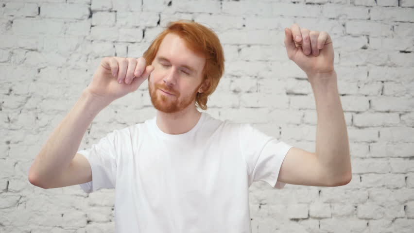 Slow Motion of Dancing Young Redhead Man in Office | Shutterstock HD Video #1008601426