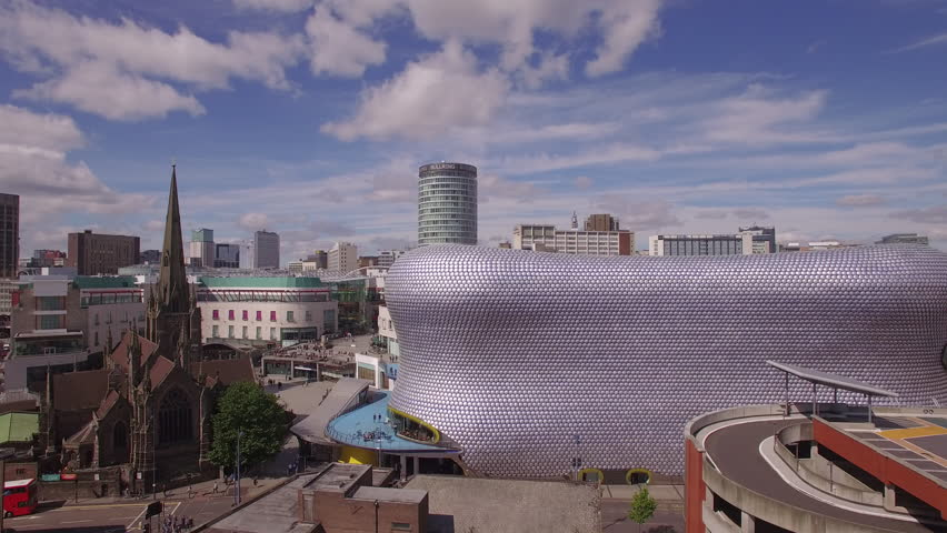 4K & HD, Bull ring & Selfridges, St Martins Cathedral, crane shot, Birmingham UK