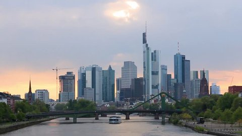 Frankfurt, Germany - April 2017: Panoramic view of downtown skyscrapers and Main river