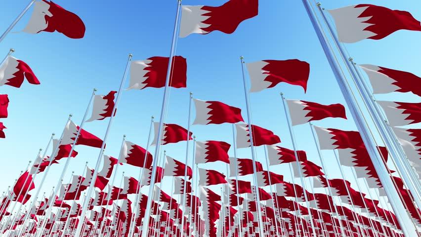 Bahrain waving flags against blue sky. Three dimensional rendering 3D animation.