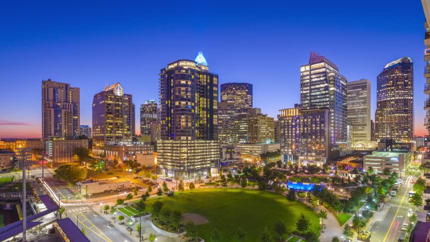 Charlotte, North Carolina, USA uptown park and skyline.