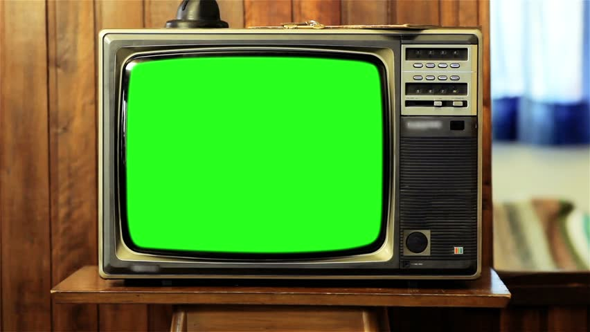 "80s TV with Green Screen. You can replace green screen with the footage or picture you want with ""Keying"" (Chroma Key) effect in AE (check out tutorials on YouTube). Zoom In Fast.  