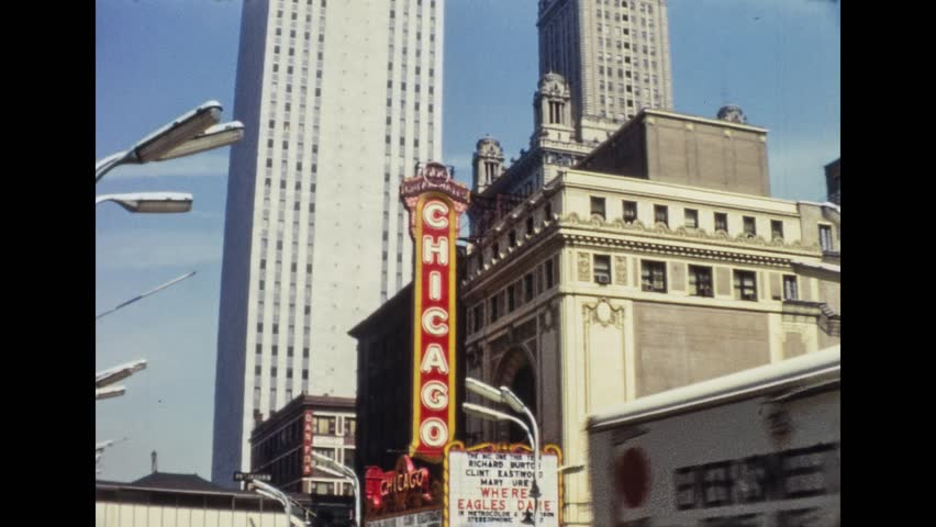 Chicago, 1961: Vintage Sign, street view, skyscrapers and shops of Downtown, on 1961 in Chicago, USA