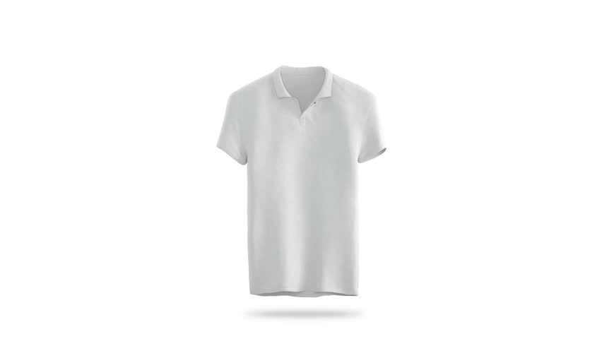 Blank white polo shirt constant rotation mock up, isolated. Rotation tshirt around, 3d rendering. Empty sport t-shirt clothing