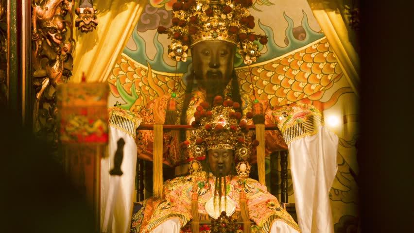 Taipei, Taiwan-10 February, 2016: Baosheng Dadi statue inside of the Dalongdong Baoan Temple in Taipei, Taiwan. Is a Chinese god of medicine worshiped in Chinese folk religion.