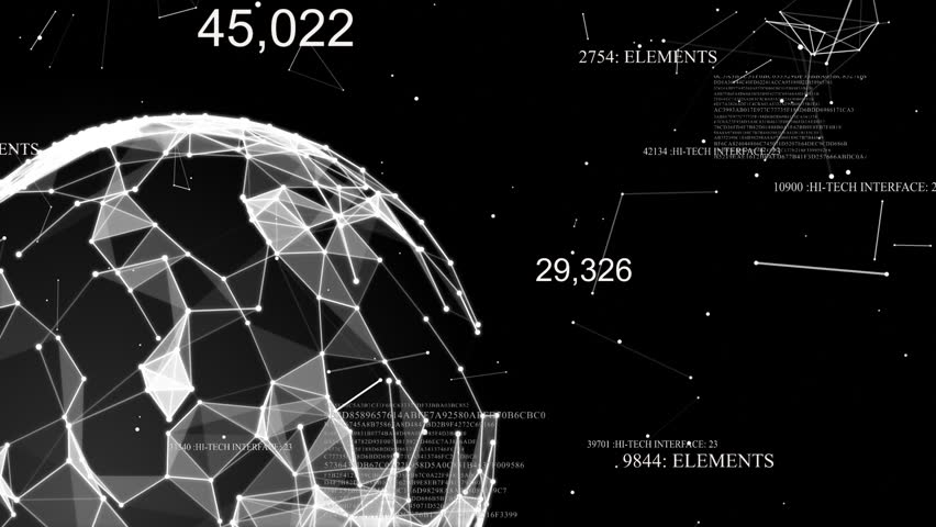 Plexus with digital numbers, diagrams, graphics and text. Abstract sphere #1008778436