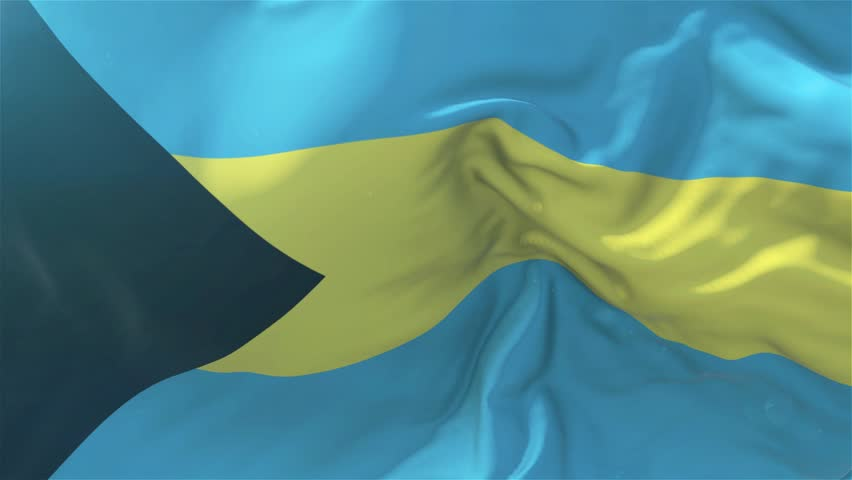 Bahamas Flag in Slow Motion Classic Flag Smooth blowing in the wind on a windy day rising sun 4k Continuous seamless loop Background