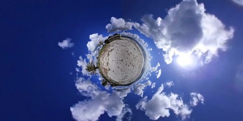 Alghero shore in tiny planet 360 degrees effect