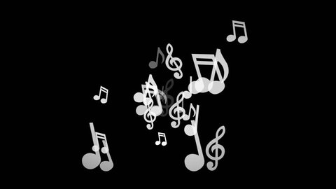 White musical notes move to the sides on a black background