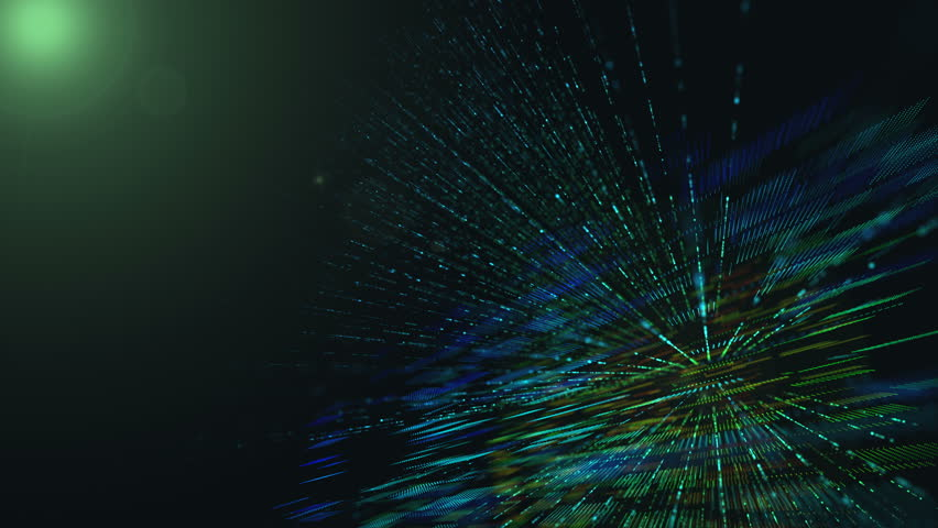 Abstract technology background with bright flare. Digital Cyber City Particles HUD Background.Digital effect graphic for art pattern.  Perspective mosaic and rays design for modern science. | Shutterstock HD Video #1008826676