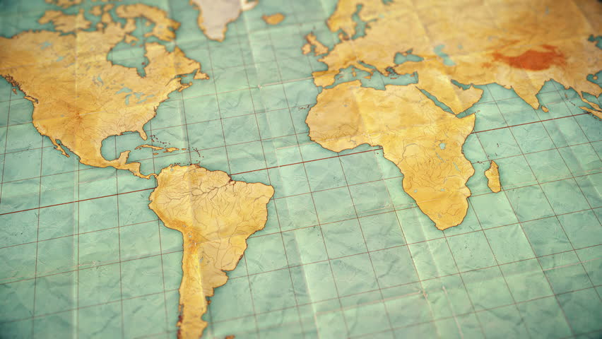 Seamless looping 3d animation of pan over an old well used world map with crumpled paper and distressed folds. Vintage sepia colors. Blank version  | Shutterstock HD Video #1008831566