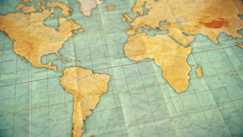 Seamless looping 3d animation of pan over an old well used world map with crumpled paper and distressed folds. Vintage sepia colors. Blank version