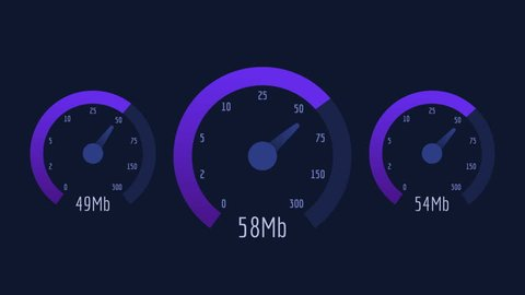 Three Speedometer Internet Speed 50 mb 100 mb 300 mb Lilac Scale. Motion Graphics. Animation Video.