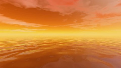 After sunset, 3D rendering, an orange background with light yellow horizon, beautiful animation with video motion in water and clouds.