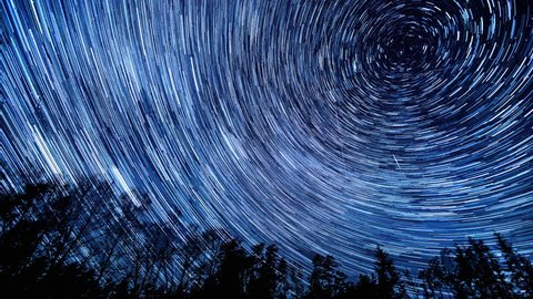 Night sky with star trails, 4k time-lapse video.