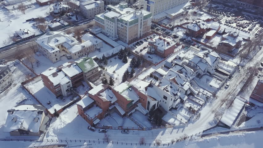 Aerial view snow-covered city in winter #1008886556