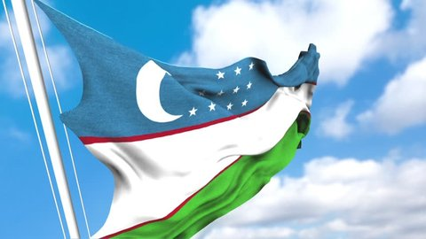 Uzbekistan flag is waving at a beautiful and peaceful sky in day time. 3d rendering.