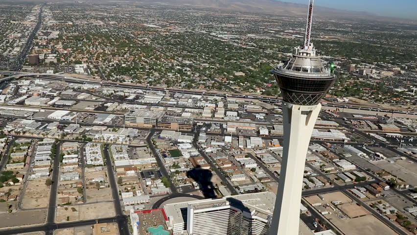 Las Vegas, USA July 2016. Aerial of the Las Vegas Strip, The Stratosphere Las Vegas is a hotel, casino, and tower located on Las Vegas Boulevard.