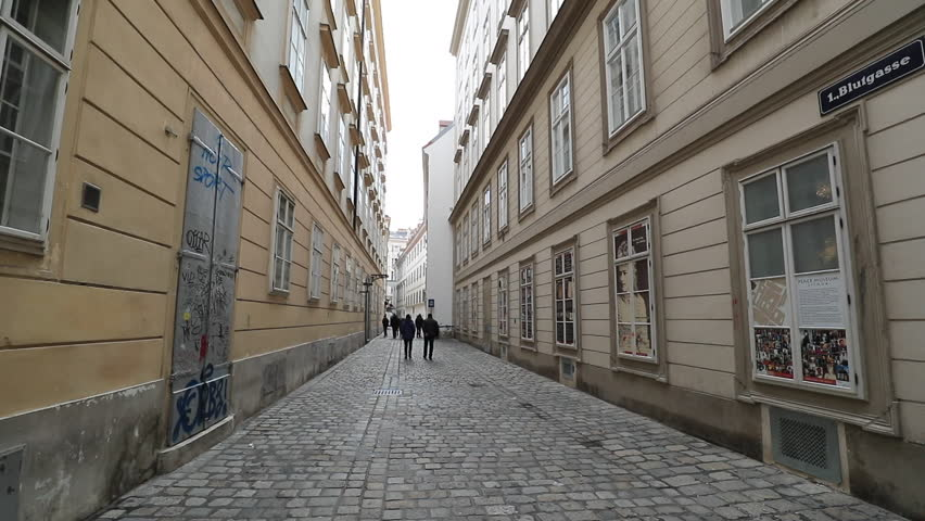 VIENNA, AUSTRIA - JANUARY 2018 - Blutgasse street in front of the House of Mozart on Domgasse. Mozart street residence