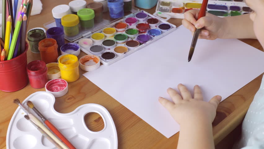 Young girl draws with black color. Psychological problems concept | Shutterstock HD Video #1008953306