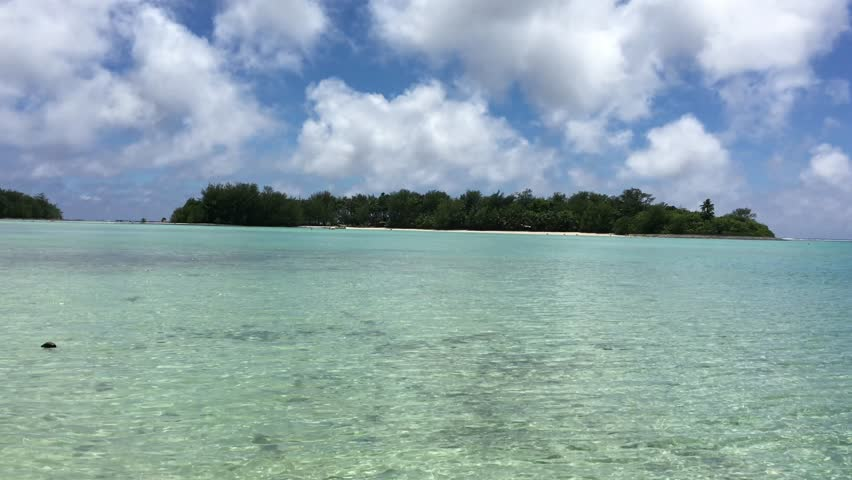 Landscape view of Rarotonga Island from Muri Lagoon in Rarotonga, Cook Islands.
