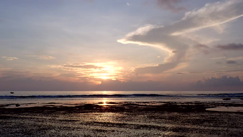 Littoral zone at low tide at sunset