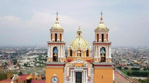 Cholula Mexico Church on Pyramid in Puebla aerial footage